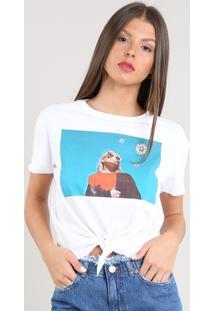 876026ce9 ... Blusa Feminina Cropped Com Estampa E Nó Manga Curta Decote Redondo Off  White