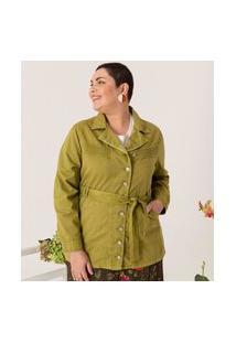 Jaqueta Sarja Com Cinto Curve E Plus Size Verde