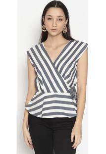 Blusa Listrada Com Transpasse-Branca & Azul Escurovip Reserva