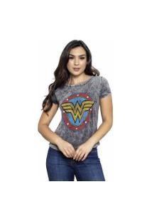 Camiseta Sideway Mulher Maravilha Logo - Preto/Cinza