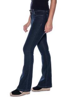 Calça Jeans Macaw Flare Carol Feminina - Feminino-Azul Escuro