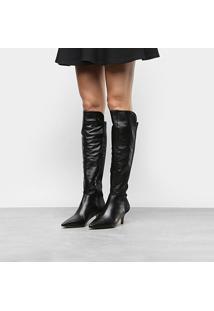 Bota Couro Over The Knee Shoestock Salto Baixo Neoprene Feminina - Feminino