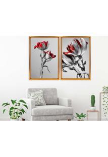 Quadro Love Decor Com Moldura Chanfrada Flores Vermelhas Dourado - Grande