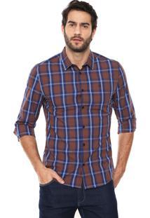 Camisa Forum Padronagem Xadrez Azul/Marrom