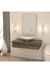 Conjunto Bancada Para Banheiro 80Cm Com Cuba Canoa L45 800W Metrópole Compace