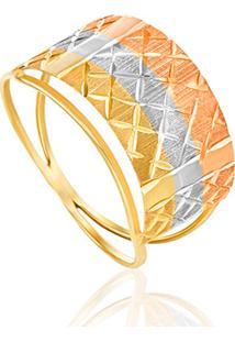Anel Em Ouro Amarelo, Branco E Vermelho 18K-Tríade 13