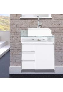 Gabinete Para Banheiro Com Tampo 1 Cuba Móveis Bonatto Branco