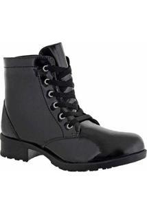 Bota Cano Curto D&R Shoes Verniz Feminina - Feminino-Preto