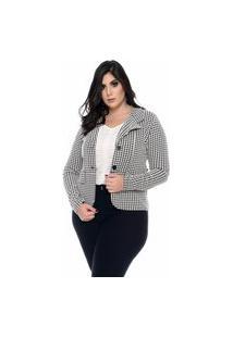 Casaco Feminino Mac-Lu Xadrez Quentinho Linha Premium Preto Black Maldivas Com Branco Sophie