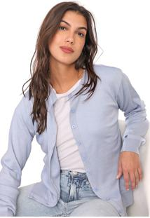 Cardigan Facinelli By Mooncity Tricot Liso Azul