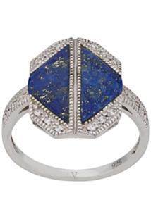 V Jewellery Lapis Ring - Prateado