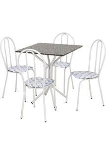Jogo De Mesa E 04 Cadeiras Thais Com Tampo Granito Branca/Assento Capi