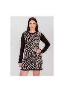Vestido Curto Rarah Tricot Zebra Marron