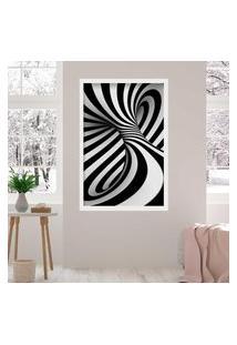 Quadro Love Decor Com Moldura Abstrato 3D Branco Grande