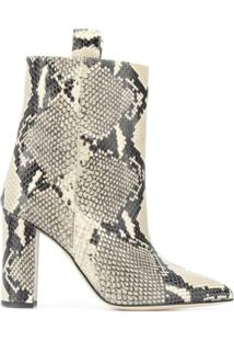 Paris Texas Ankle Boot Com Efeito De Pele De Cobra - Neutro