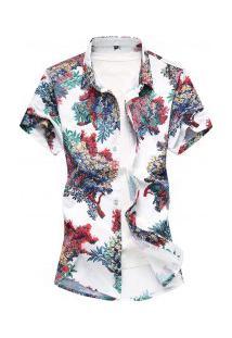 Camisa Masculina Estampa Floral - Branco