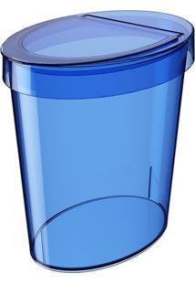 Lixeira Glass Oval- Azul Escuro- 5L- Cozacoza