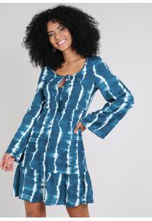 Vestido Feminino Curto Estampado Tie Dye Com Tassel Manga Sino Azul Petróleo