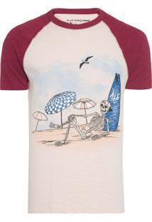 Camiseta Masculina Raglan Caveira Praia - Rosa