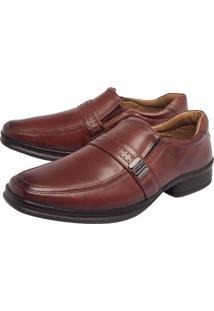 Sapato Social Couro Rafarillo Bico Quadrado Marrom
