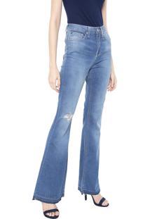 Calça Jeans Calvin Klein Jeans Flare Five Pockets Azul