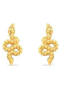 Brinco Life Enigma Serpente Com Banho Ouro Amarelo
