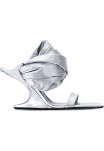 Rick Owens Sandália Com Salto Anabela - Prateado