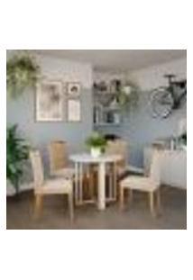 Conjunto De Mesa De Jantar Flora Ii Com Tampo Off White E 4 Cadeiras Estofadas Laura Suede Nude E Madeira