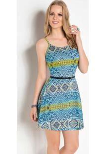 Vestido Evasê De Alças Étnico Azul