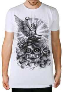 Camiseta Artseries Longline Caveira Mexicana Com Anjo