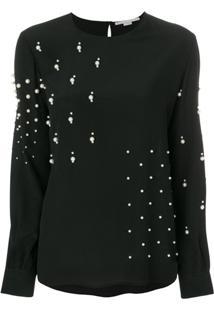 Stella Mccartney Blusa De Seda Com Esferas Peroladas - Preto