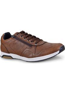 Sapatenis Masc Ped Shoes 15040-E Caramelo Kit C/Relogio