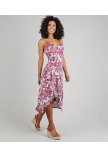 Vestido Feminino Midi Mullet Estampado Floral Com Argola Alças Finas Vinho