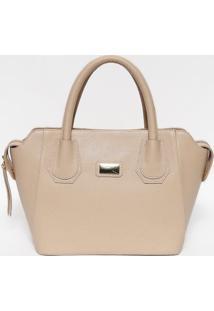 Bolsa Em Couro Texturizada- Nude & Dourada- 22X37X13Anette