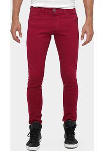 Calça Skinny Preston Color Masculina - Masculino-Vinho