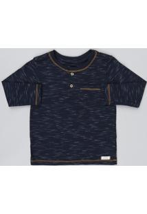 Camiseta Infantil Flamê Com Bolso Manga Longa Azul Marinho