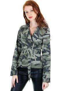 Jaqueta Perfecto Camuflada Com Fivela Ajustável No Cinto E Zíper Frontal