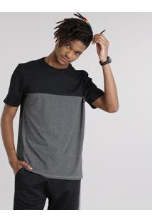Camiseta Masculina Com Recorte Listrado Manga Curta Gola Careca Preto