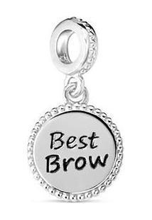"""Pingente """"Best Brow"""" Banhado Á Rã³Dio- Prata & Preto-Vivara"""