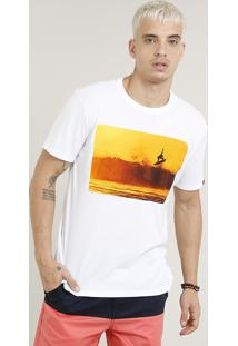 Camiseta Masculina Surfista Manga Curta Gola Careca Branca