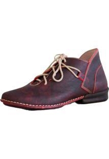 Bota Couro J.Gean Cano Curto Retrô Vintage Vermelha