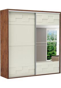 Guarda Roupa Tw302E 2 Portas Com Espelho Nobre Fosco/Off White
