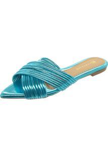 Sandalia Kamarine Bico Fino Azul Celeste