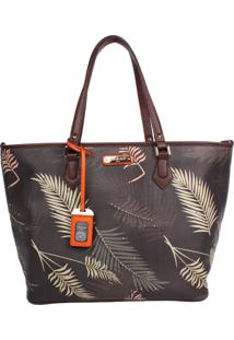Bolsa Nicole Lee Ilse Palm Tree Print Shopper Bag Florida Castanho