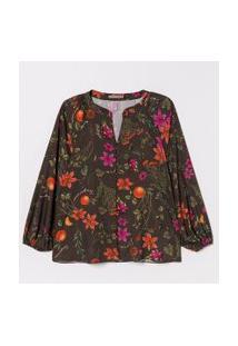 Camisa Estampa Floral Com Botões Forrados Curve & Plus Size | Ashua Curve E Plus Size | Verde | G