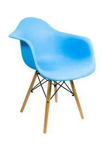 Cadeira Grande Charles Eames Com Pés De Madeira Turquesa