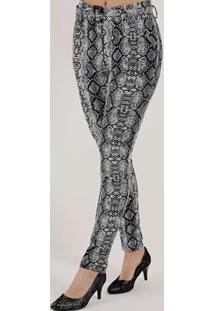 Calça De Tecido Animal Print Feminina Cinza/Cobra