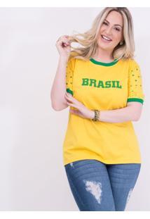 T-Shirt Unissex Em Algodão Com Estrelas Na Manga Especial Copa Do Mundo Amarelo: Amarelo: 46/48