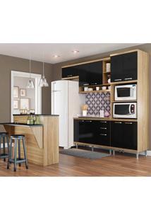 Cozinha Compacta Sem Tampo 5 Peças 5843 Sicília - Multimóveis - Argila / Preto