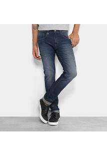 Calça Jeans Skinny Rock & Soda Estonada Masculina - Masculino-Azul Escuro
